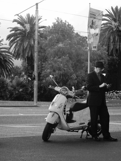 Man and vespa
