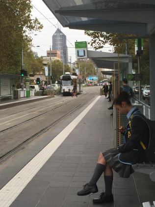 Waiting for a tram