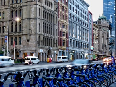 Flinders St and bikes