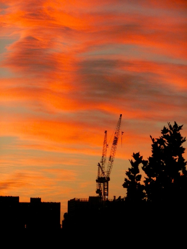 Sunset with crane