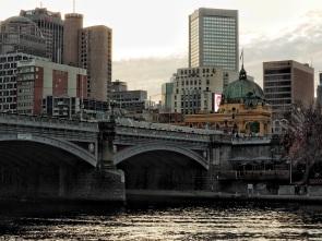 View down river towards bridge
