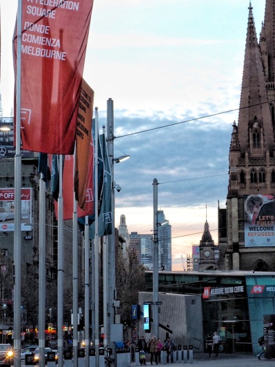 Flags in Fed Square - June
