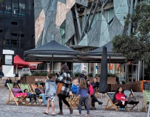 Deck chairs in Fed Square