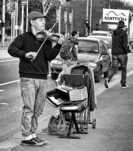 Busker with violin