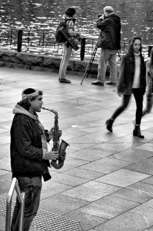 Busker with saxophone