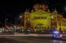 Flinders St at night