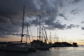 Sunset over the Musket Cove marina